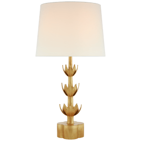Alberto Large Triple Table Lamp in Antique Gold Leaf with Linen Shade