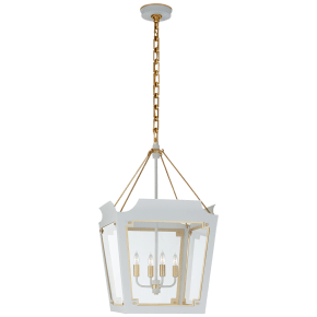 Caddo Medium Lantern in Soft White and Gild with Clear Glass