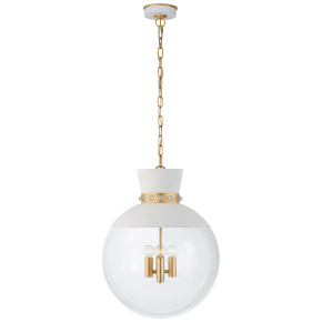 Lucia Large Pendant in Matte White and Gild with Clear Glass