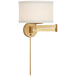 Walker Swing Arm Sconce in Gild with Cream Linen Shade
