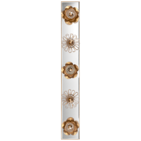 """Keaton 30"""" Floral Vanity Light in Gild and Mirror"""