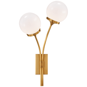 Prescott Left Sconce in Soft Brass with White Glass