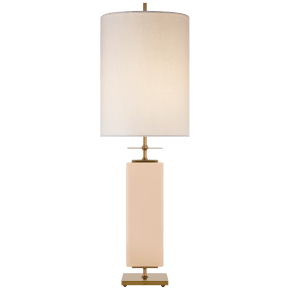 Beekman Table Lamp in Blush Reverse Painted Glass with Cream Linen Shade