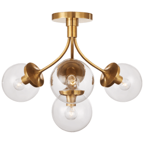 Prescott Medium Semi-Flush Mount in Soft Brass with Clear Glass