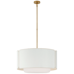 Eyre Large Hanging Shade in Soft Brass and Soft White Glass with Linen with Cream Trimmed Shade