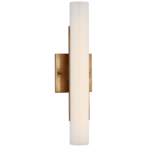 """Precision 15"""" Bath Light in Antique-Burnished Brass with White Glass"""