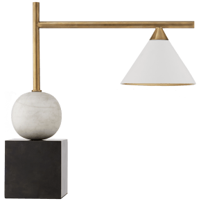 Cleo Desk Lamp in Bronze and Antique-Burnished Brass with Antique White Shade