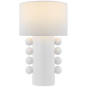 Tiglia Tall Table Lamp in Plaster White with Linen Shade