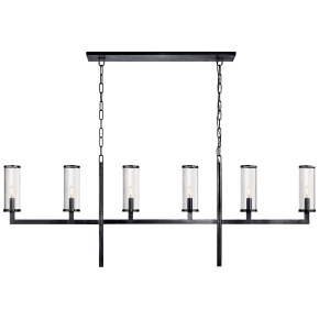 Liaison Large Linear Chandelier in Bronze with Clear Glass