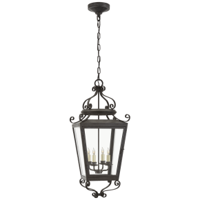 Lafayette Large Hanging Lantern in French Rust with Clear Glass