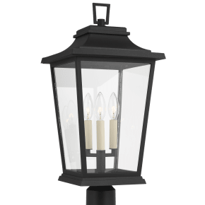 Warren Post Lantern Textured Black