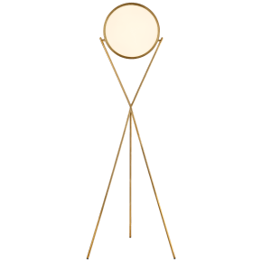"Dot Stance 13"" Rotating Floor Lamp in Natural Brass"