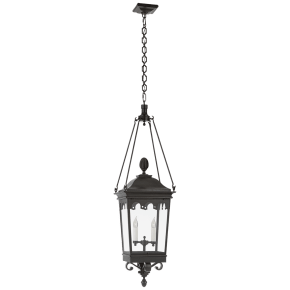 Rosedale Grand Medium Hanging Lantern in French Rust with Clear Glass