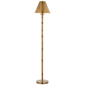 Dalfern Petite Reading Floor Lamp in Waxed Bamboo and Natural Brass  with Natural Brass Shade