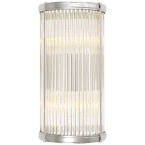 Allen Small Linear Sconce in Polished Nickel and Glass Rods