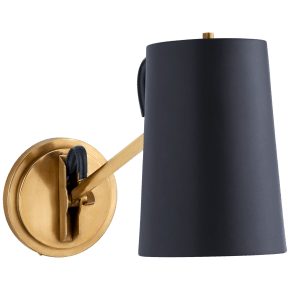 Benton Single Library Sconce in Natural Brass with Navy Leather Shade