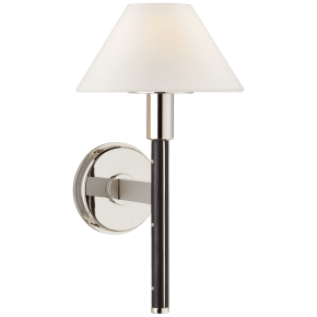 Radford Small Sconce in Polished Nickel and Black Ebony with Linen Shade