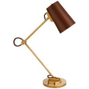 Benton Adjustable Desk Lamp in Natural Brass with Saddle Leather Shade