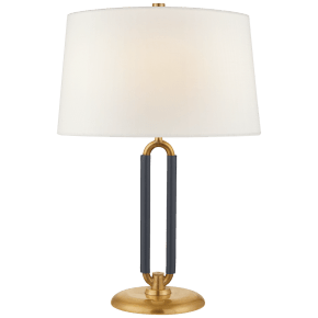 Cody Medium Table Lamp in Natural Brass and Navy Leather with Linen Shade