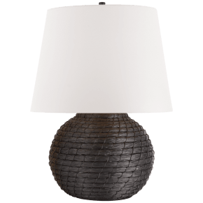 Lohan Medium Table Lamp in Black Rattan with White Paper Shade