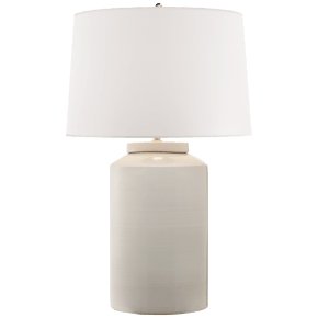 Carter Large Table Lamp in White Porcelain with White Paper Shade