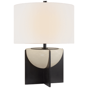 Michaela Small Table Lamp in Aged Iron and Alabaster with Linen Shade
