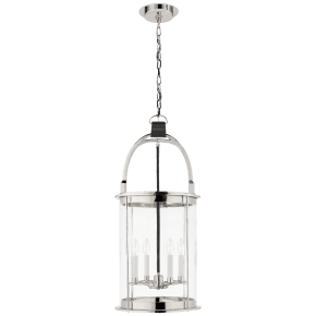 Westbury Lantern in Polished Nickel and Chocolate Leather