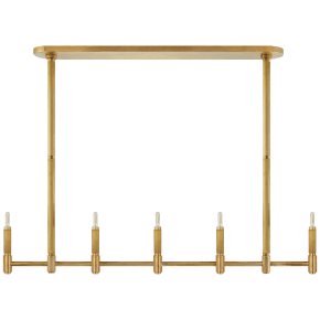 Barrett Large Knurled Linear Chandelier in Natural Brass
