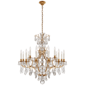 Antoinette Medium Chandelier in Natural Brass and Crystal