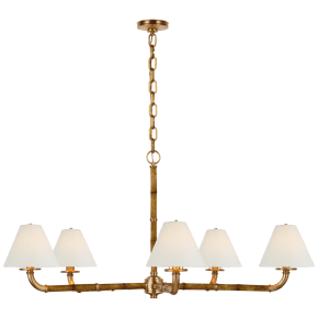 Dalfern Large Chandelier in Waxed Bamboo and Natural Brass with White Parchment Shades