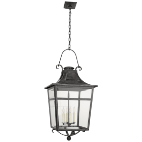 Carrington Large Lantern in French Rust with Clear Glass