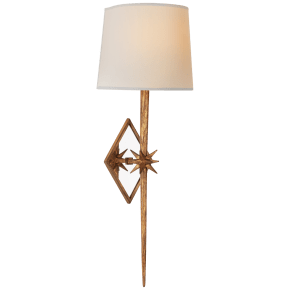 Etoile Large Tail Sconce in Gilded Iron with Natural Paper Shade