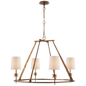 Etoile Round Chandelier in Gilded Iron with Natural Paper Shades