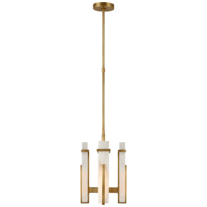 Malik Small Chandelier in Hand-Rubbed Antique Brass with Alabaster