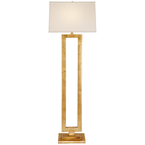 Modern Open Floor Lamp in Gild with Linen Shade