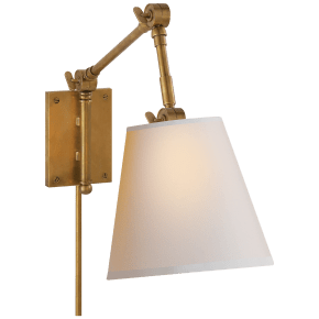 Graves Pivoting Sconce in Hand-Rubbed Antique Brass with Natural Paper Shade