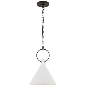 Limoges Medium Pendant in Natural Rust with Plaster White Shade