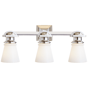 New York Subway Triple Light in Polished Nickel with White Glass