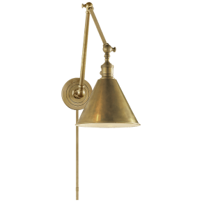 Boston Functional Double Arm Library Light in Hand-Rubbed Antique Brass