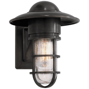 Marine Indoor/Outdoor Wall Light in Bronze with Seeded Glass