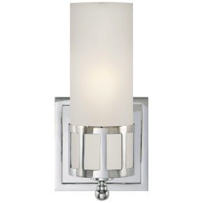 Openwork Single Sconce in Chrome with Frosted Glass