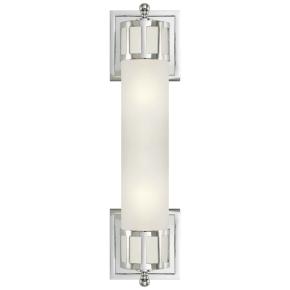 Openwork Medium Sconce in Chrome with Frosted Glass