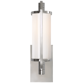 Keeley Short Pivoting Sconce in Chrome with White Glass
