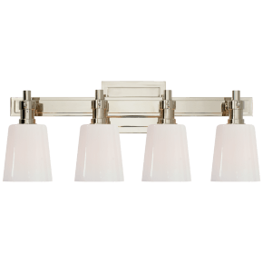 Bryant Four-Light Bath Sconce in Polished Nickel with White Glass