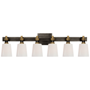Bryant Six-Light Linear Bath Sconce in Bronze and Hand-Rubbed Antique Brass with White Glass