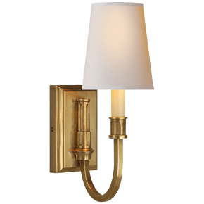 Modern Library Sconce in Hand-Rubbed Antique Brass with Natural Paper Shade