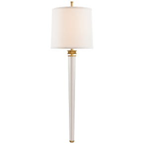 Lyra Large Tail Sconce in Hand-Rubbed Antique Brass and Crystal with Linen Shade