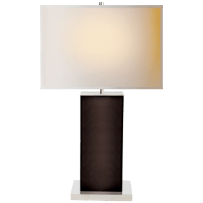 Dixon Tall Table Lamp in Espresso Leather with Natural Paper Shade