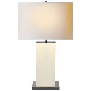 Dixon Tall Table Lamp in Parchment Leather with Natural Paper Shade