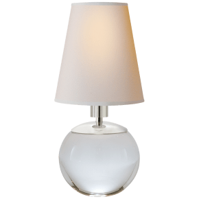 Tiny Terri Round Accent Lamp in Crystal with Natural Paper Shade